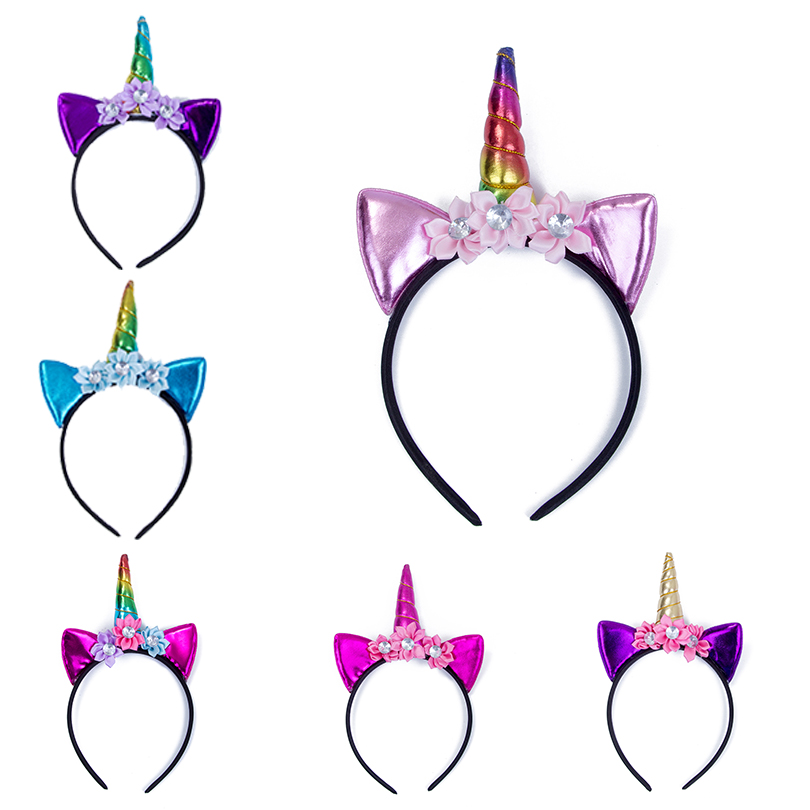 Haimeikang Cat Ear Unicorn Hair Hoop Unicorn Headbands Flower Hairbands Party Hair Accessories for Girls Kid Halloween Gifts free shipping 2013 new fashion lace big rabbit ear hairbands womens festival party props hair bands wholesale