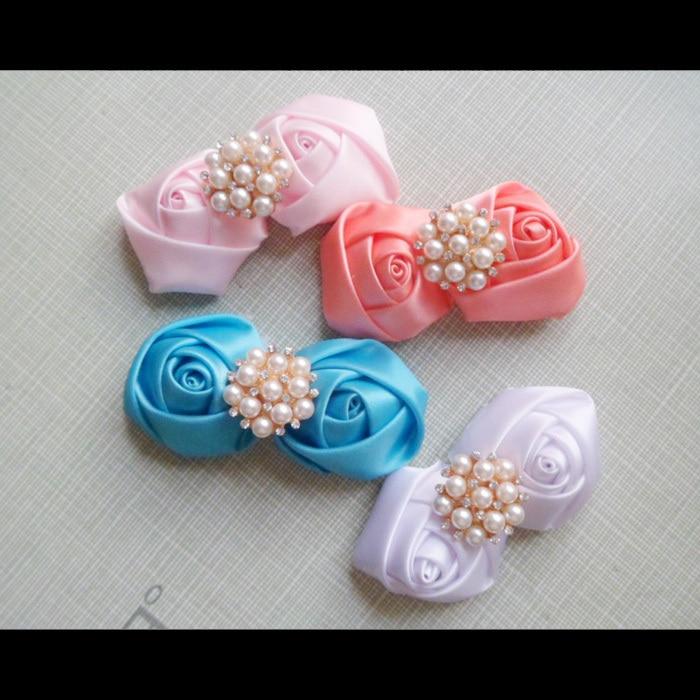 tienda online cinta de polister laminado en flor del rosetn unids con mujeres de novia accesorios para el cabello broche rosetas de