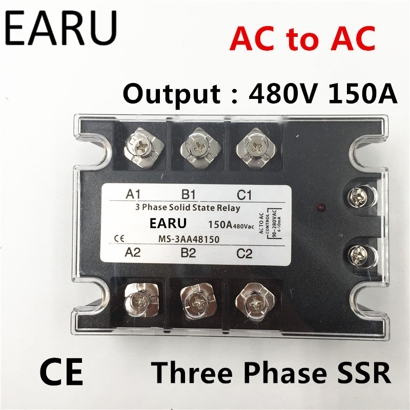 TSR-150AA SSR-150AA Three Phase Solid State Relay AC90-280V Input Control AC 30~480V Output Load 150A 3 Phase SSR  Power AA48150 ssr 25a single phase solid state relay dc control ac mgr 1 d4825 load voltage 24 480v