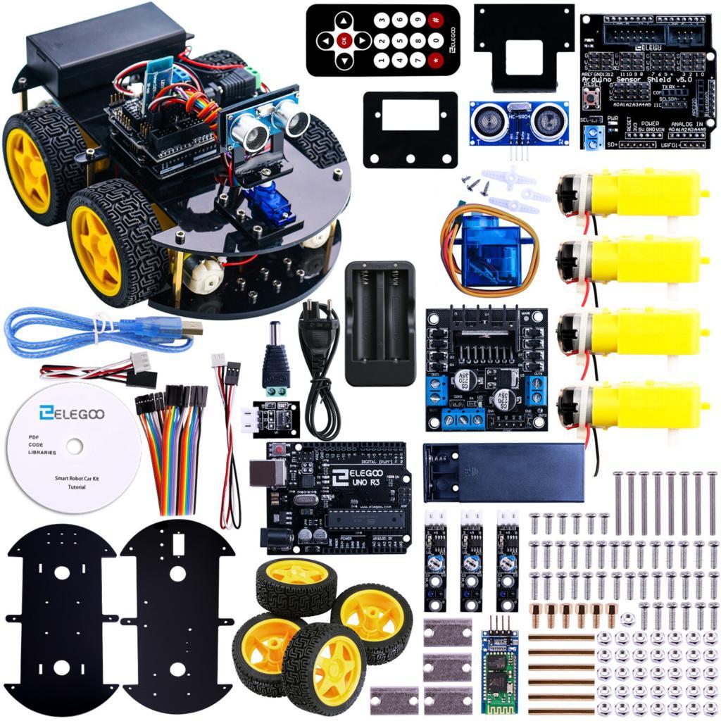 UNO Projet Intelligent Robot Voiture Kit avec UNO R3/Capteur à ultrasons/Bluetooth module/À Distance Jouet Éducatif De Voiture pour Arduino