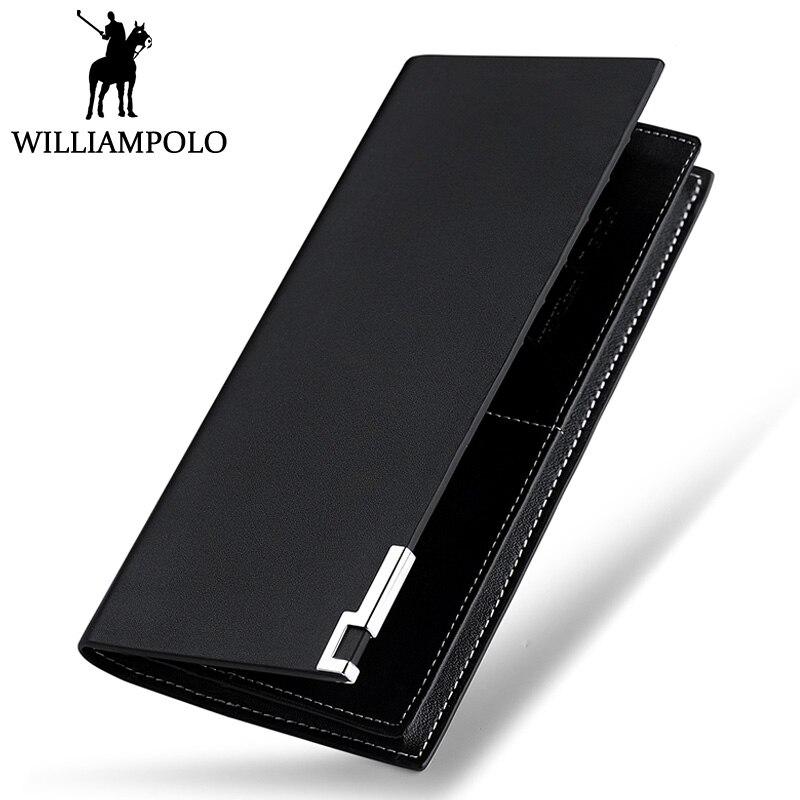 WILLIAMPOLO Men Wallet Leather Long Bifold Purse Fashion Brand Minimalist Design Black Wallets For Man Businessman Male Gift
