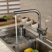 Deck Mount Single Hole One Lever Kitchen Faucet Brass Chrome Pull Out Kitchen Tap with hot cold water