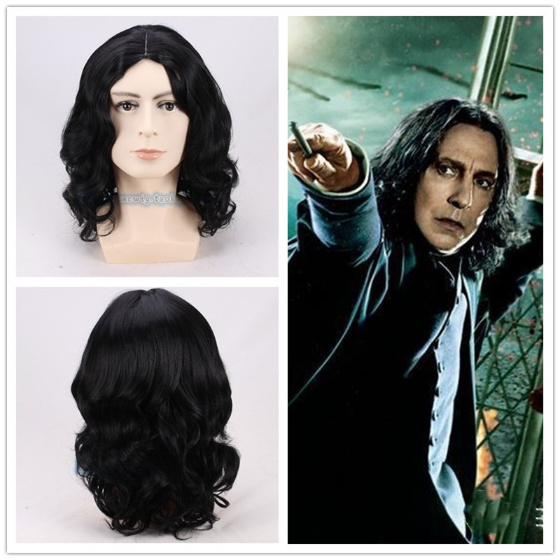 35cm New Severus Snape Black Wig Cosplay Professor Snape Curly Wig Halloween Role Play Hair Costumes