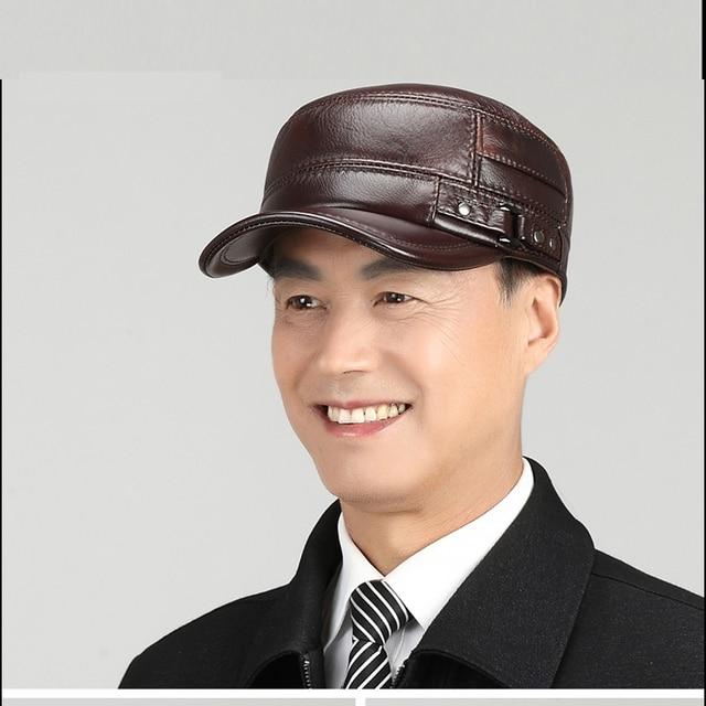 1886d2a17de113 Svadilfari Wholesale Winter 2018 New 100% Real Cowhide Army Cap Men Woman  Sailor Captain Caps Genuine Leather Hats Warm