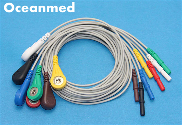 Generic Universal Din style Safety ECG Holter Leadwires Cable, 7 ...