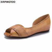 Women S Shallow Cow Natural Leather Slip On Flats Casual Summer Round Toe Comfortable Shallow Rubber