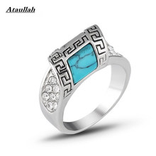 Ataullah New Personalized Jewelry Vintage Antique Silver Turquoises Ring for Women Finger Ring RWD7-166(China)