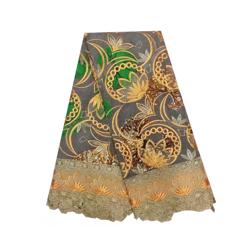 Ankara Lace Wax Super Netherland Holland Pagne African Embroidery Wax With Lace Fabric High Quality Super JAVA Wax Fabric