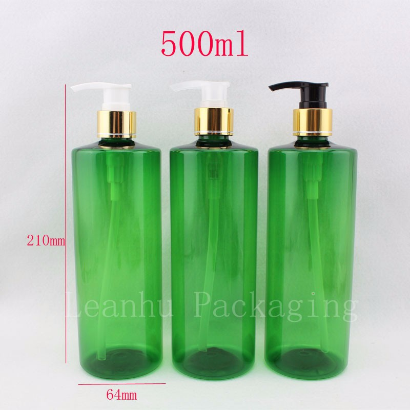 500ml-green-bottle-with-gold-lotion-pumps