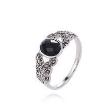 Hot Sale Design Fashion Jewelry Antique Silver Plated Vintage Black Crystal Rings For Women 2016