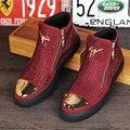 Корова кожаные ботинки размер США 8.5 дизайнер заклепки сапоги мужчина обувь круглым носком ручной работы красный черный 2017 весна внутренняя высота