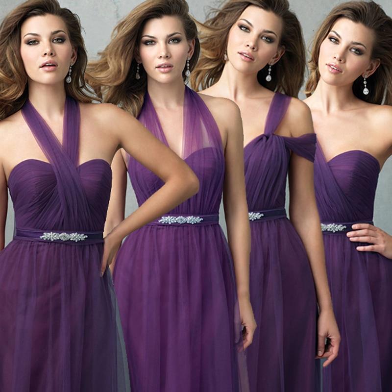 Púrpura larga de tul elegante cabestro convertibles de la dama de ...