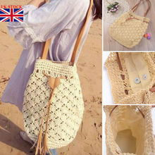 Women Bohemia Straw Bag Woven Rattan Handbag Crossbody Summer Beach Handmade Knitted Large Capacity Totes