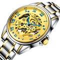 Homens Relógio Automático Bleu Real 100 M À Prova de Choque À Prova D' Água Relógio Balão Azul Dial Ouro Amarelo Rosto Luxo Relógios Legais