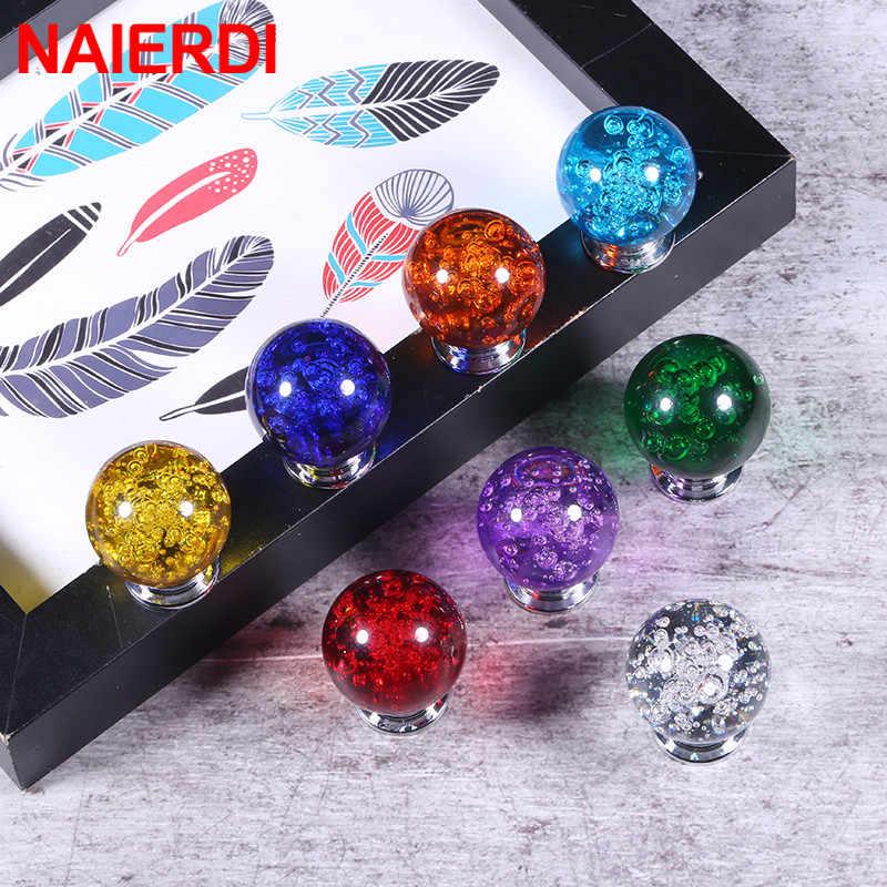 NAIERDI 30mm kristal kabarcık topu mobilya topuzu mutfak dolabı kapı çekmece kolları dolap kolları dolap kapağı kolları