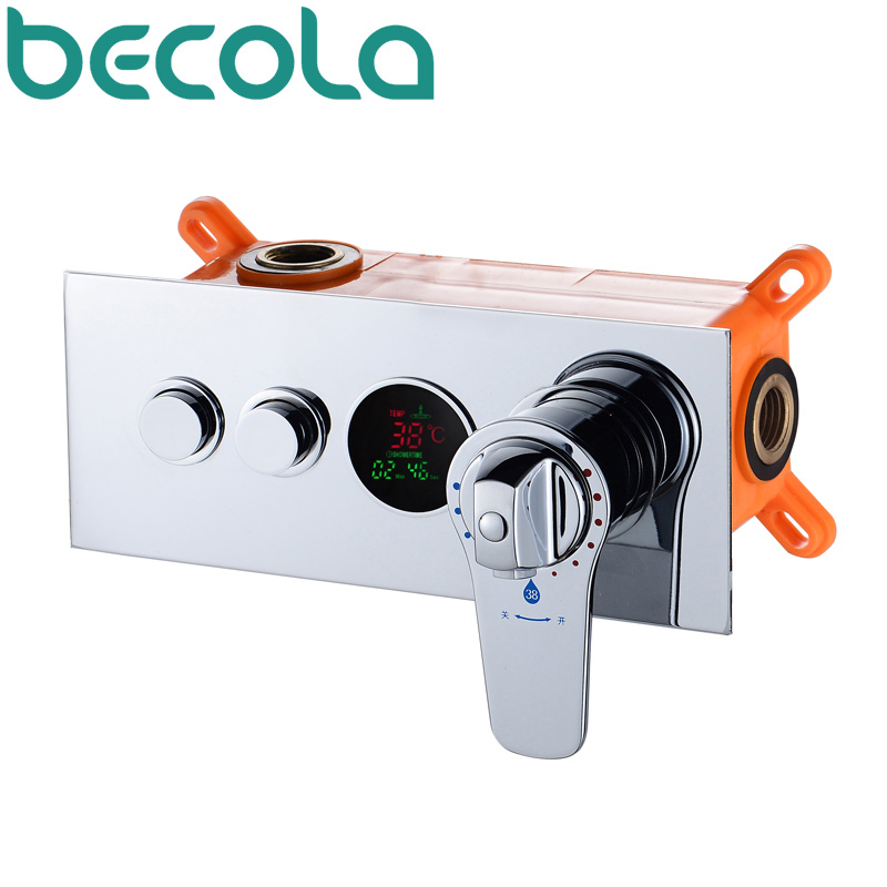 becola In wall Thermostatic shower valve LED temperature digital display concealed shower mixing valve faucet HW-9812