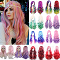 "New Mix Color Long Wig 24"" 60cm Natural Curly Wavy Full Head Wigs Wonderful Cosplay Party Anime Fancy Dress Free Shipping"