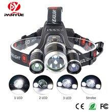 PANYUE 10PCS High Power RJ3000 T6+2R2 LED 3000Lm Headlight Headlamp Head Lamp Light Flashlight 18650 Torch