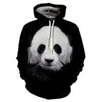 New Funny Hoodies Lovely Panda Cartoon Printing Women Men Harajuku Hooded Sweatshirts 3d Casual Black Pullover