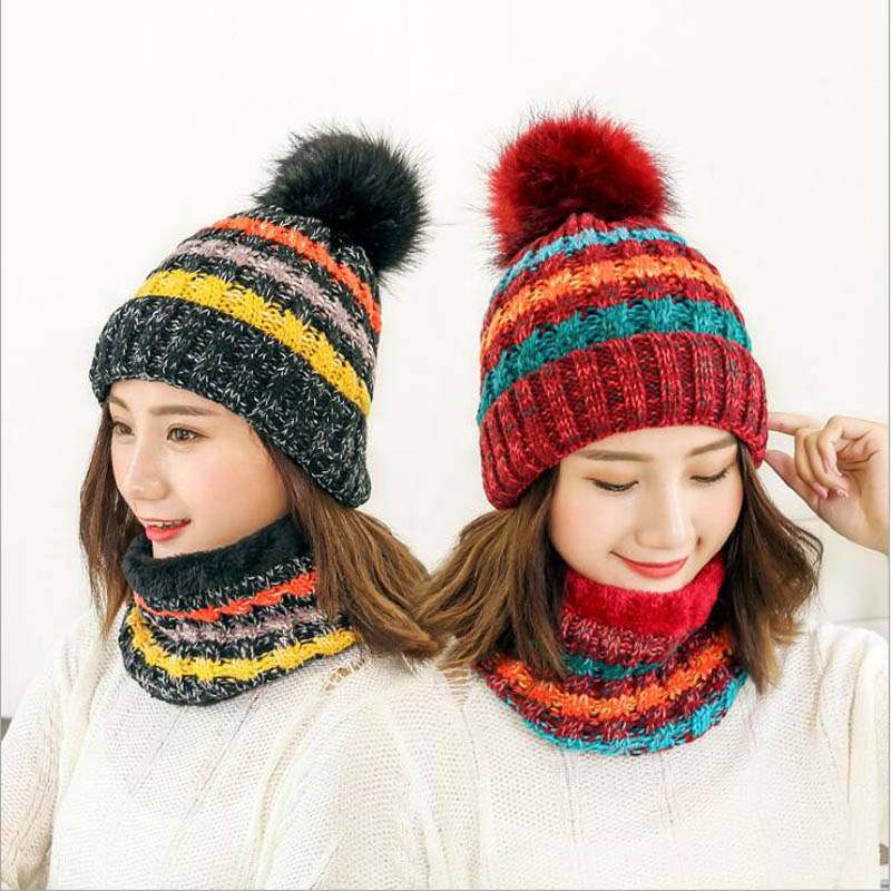 2018 Hot Neck Scarf Warm Winter Hat Women Caps Girl Ski Hat   Skullies     Beanies   Pom Hats Balaclava Knitted Hat