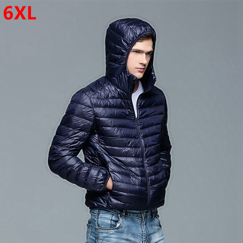Autumn And Winter New Men's Large Size Lightweight  Down Jacket Hooded  Plus Size Jacket 6XL 5XL 4XL 3XL