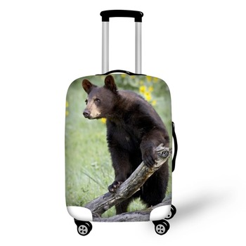 цена Animal Black Bear design travel accessories suitcase protective covers 18-30 inch elastic luggage dust cover case stretchable онлайн в 2017 году
