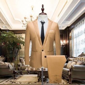 HEFLASHOR 2018 Men's Suit Wedding Male Blazers Slim fit Luxury Suits for Men Business One Button 2 Pieces(Suit jacket+pants)