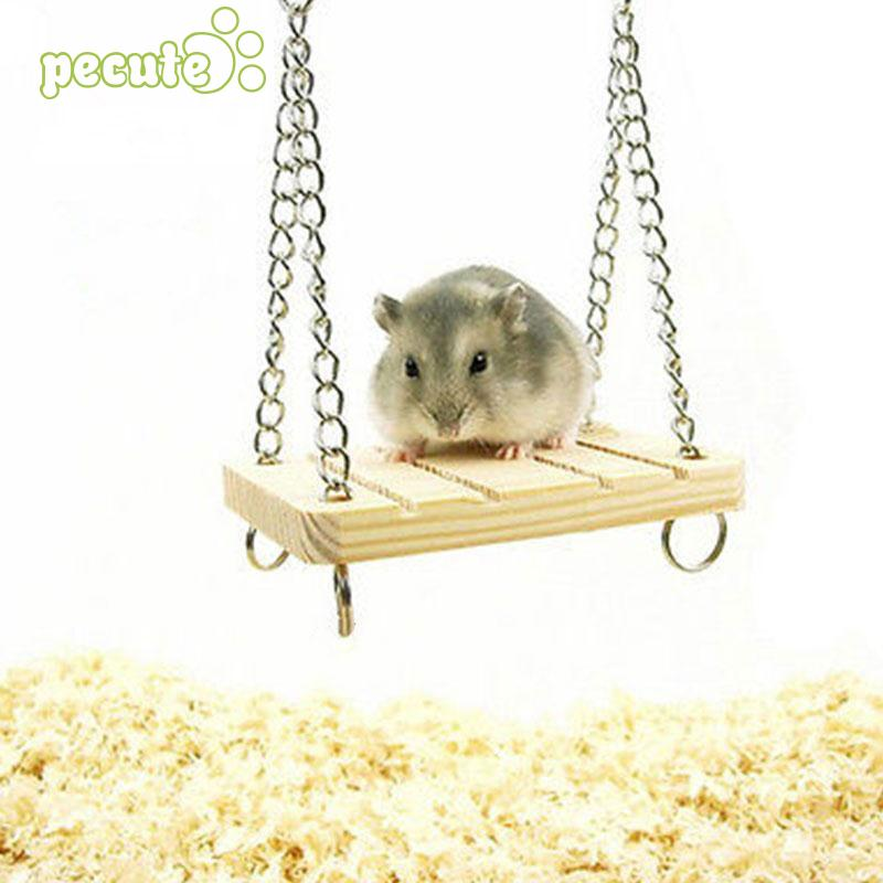 Funny Pet Hamster Parrot Rat Mouse Wooden Seesaw Swing Suspension Play Toy