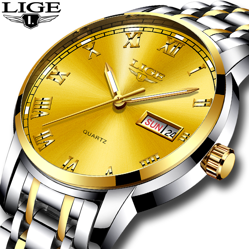 LIGE Brand Men Watches Luxury Sport Quartz 30M Waterproof Watches Men's Stainless Steel Band Auto Date Wristwatches Relojes longbo men and women stainless steel watches luxury brand quartz wrist watches date business lover couple 30m waterproof watches