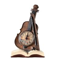 Vintage Violin Horn Clock Resin Ornament Retro Musical Instrument Miniature Clock Home Decoration Handicraft Furnishing Articles