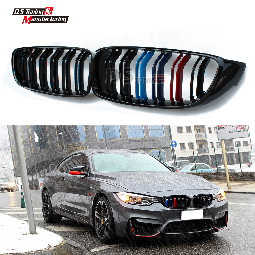 4 series f32 f33 f36 f80 f82 replacement part M-color dual slat front kidney grill grille for bmw 4 series M3 M4 2014 15 16 x5 x6 m performance sport design m color front grill dual slat kidney custom auto grille fit for bmw 2015 2016 f15 f16 suv