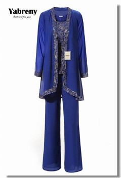 Yabreny Sequins Outfit Mother of bride trousers Special occasion dressey Plus size Royal blue outfit MT001707-1