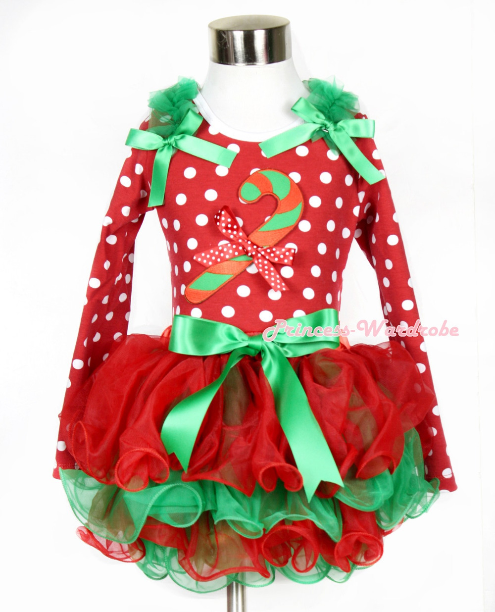 Xmas Kelly Green Bow Red Green Petal Pettiskirt Minnie Dots Long Sleeve Top Kelly Green Ruffles & Christmas Stick & Bow MAMW318 kiniki kelly tanga mens