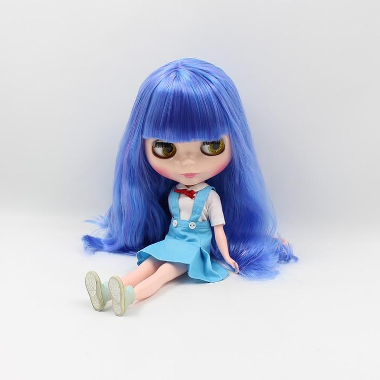 Синий длинные волосы Блит кукла с взрыва нормальной кожи Блит куклы Электрический свет Кукла DIY игрушка