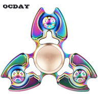 OCDAY EDC Hand Spinner Tri Fidget Spinner Multicolor Metal Spiner Toys Tops For Autism And ADHD