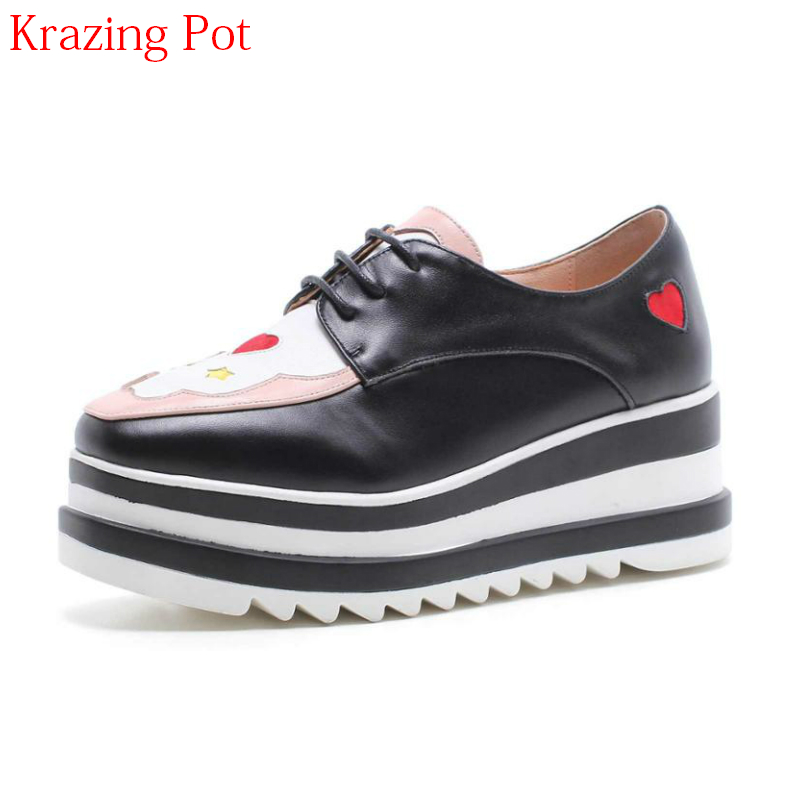 2018 Mixed Colors Preppy Style Square Toe Lace Up Cartoon Print Cow Leather High Heels Casual Shoes Platform Women Pumps L26 2017 shoes women med heels tassel slip on women pumps solid round toe high quality loafers preppy style lady casual shoes 17