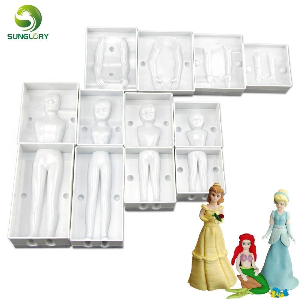 Decoración para hornear Fondant 3D Personas En forma de pastel Figura Molde Conjunto de la familia Cuerpo humano Decoración Molde para crear Hombres Mujeres Niños