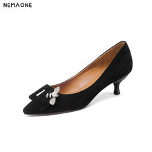 NEMAONE Spring/Autumn Genuine Leather Women Pumps Middle Heels Sheepskin Upper Pointed Toe Sexy Leadies Women Shoes Yellow Pumps