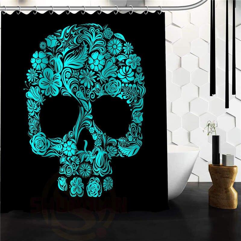 Popular Flowers Sugar Skull Shower Curtain Custom Bath Curtains Bathroom Decor On Sale China