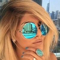 HUITUO Oversized Round Sunglasses for Women Brand Designer Sun Glasses Female Top Quality Ladies Shades Mirror Big Frame Eyewear