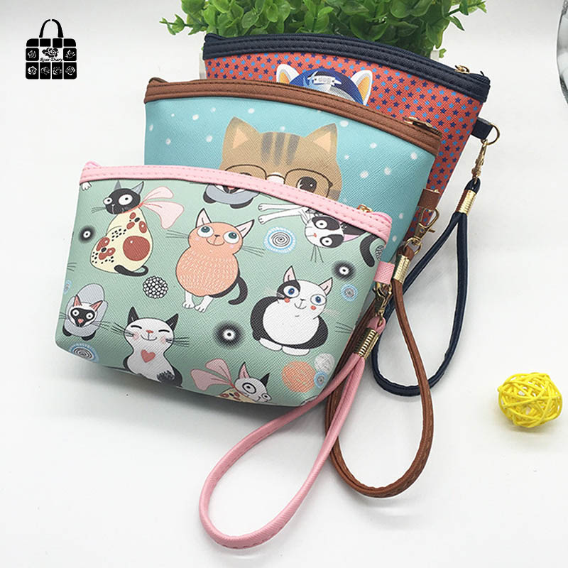 ROSEDIARY Women cartoon PU Leather Waterproof zipper Coin Purse Clutch lady Wallet phone Pocket Pouch Bag Keys cosmetic holder animob a08 119 women s cat pattern pu coin purse mobile phone bag cosmetic bag deep pink