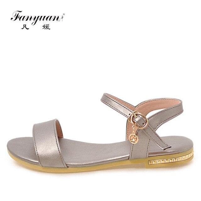 7da45af58336 Fanyuan 2018 Ladies Shoes Concise Peep Toe Women s Summer Footwear Ankle Strap  Female s Flat Sandals Beach Shoes Plus Size 32-43