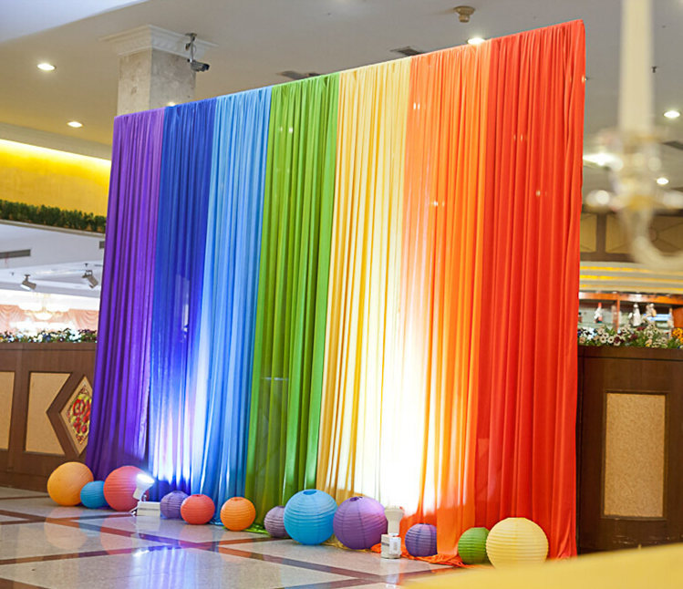 New Ice Silk Rainbow Wedding Backdrop Colourful Wedding Background - Festive and Party Supplies