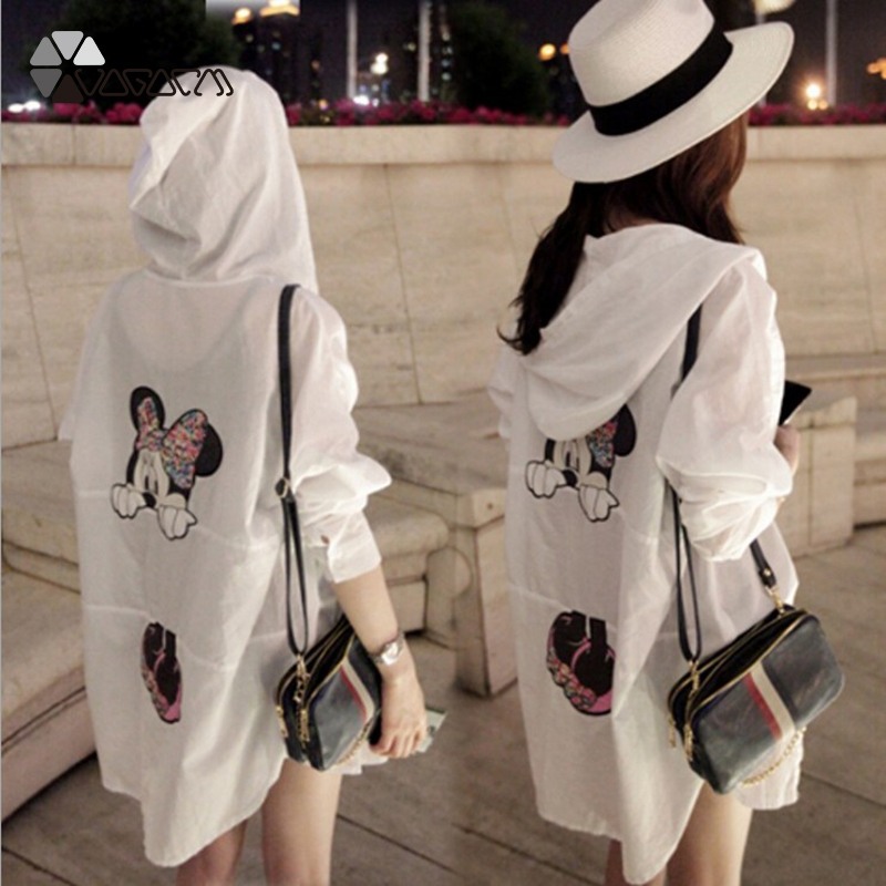 Women Minnie Mickey Mouse Summer Sun Protection Clothes Transparent Plus Size Long Sleeve   Shirt   Beach Cover-Ups   Blouse   Smock