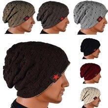 2016 New Fashion Men Knit Beanie Reversible Baggy Cap Skull Chunky Winter Hat JL