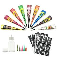 Temporary Tattoo Kit 9-color Paste Cone With 107-part Stencil Set, 1 Applicator Bottle And 5 Plastic Nozzles