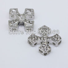 SALE 20pcs Fashion Clear Rhinestone White Gold Color Square Cross Connectors Beads For Bracelet ,DIY Jewelry Findings 25x25mm