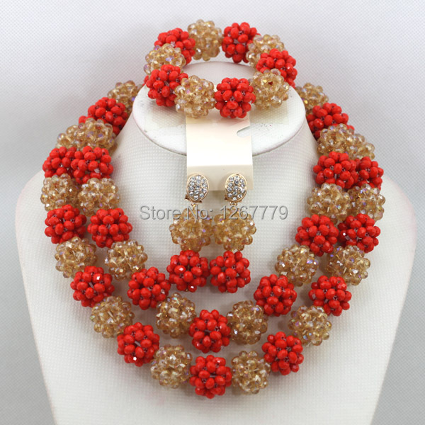 Lovely Red&Champagne Crystal Beads Balls Necklace Set African Wedding Beads Jewelry Wedding For Brides Free Shipping ABC829