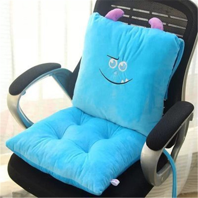 2pcs set cute cartoon conjoined chair cushion lumbar support waist