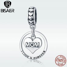 BISAER Mother Day Gift Authentic 925 Sterling Silver Mom Letters Vintage Pendant for Original Charm Bracelet Bijoux Gift GXC649(China)
